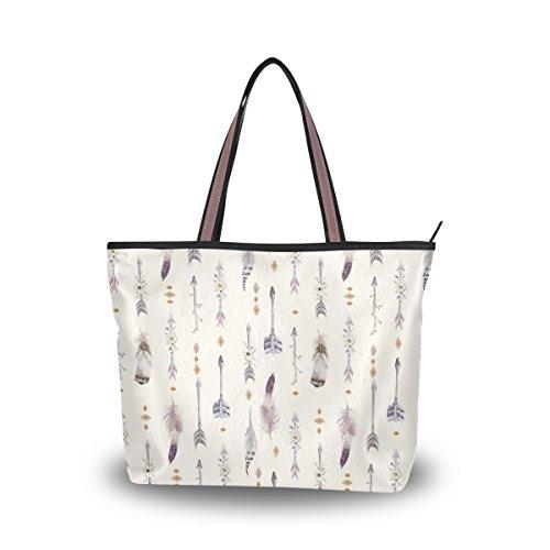 JSTEL Women Large Tote Top Handle Shoulder Bags Watercolor Boho Arrows And Feathers Patern Ladies Handbag by JSTEL
