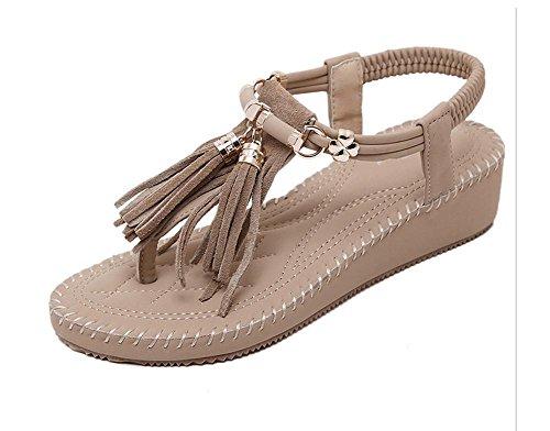 Bagatela zapatos de fondo grueso zapatos planos cómodos de la borla de las sandalias estilo romano apricot