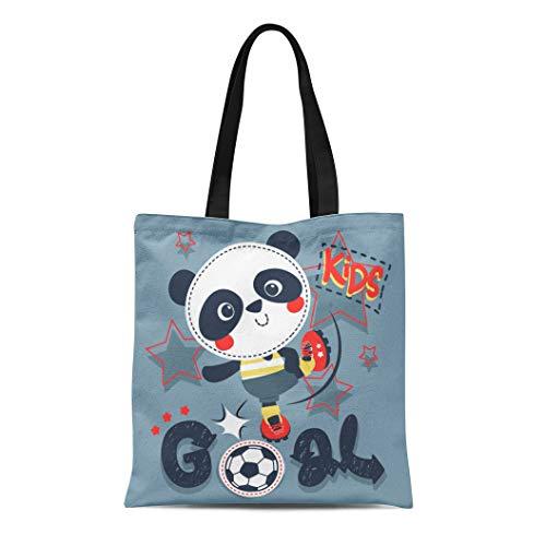 Semtomn Cotton Canvas Tote Bag Baby Cute Cartoon Panda Boy Kicking Soccer Ball Reusable Shoulder Grocery Shopping Bags Handbag Printed