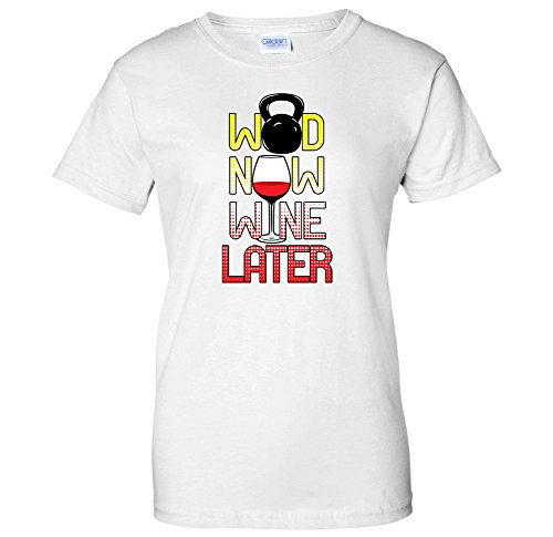 WOD Now, Wine Later - Work Hard Play Hard Swift Pigeon Womens T-Shirt (XL White)