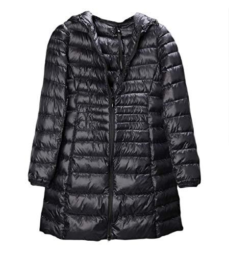 Hood Size Womens Packable Plus Warm Giacche Down Rkbaoye Slim Nero Leggero fqOpwRx