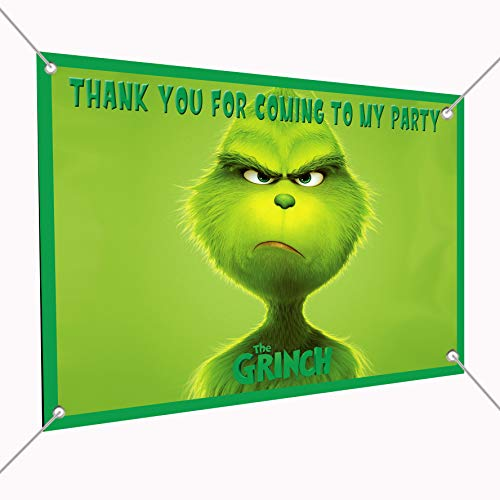 The Grinch Movie Banner Large Vinyl Indoor or Outdoor Banner - Sign Poster Backdrop, Party Favor Decoration, 30