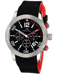 Porsamo Bleu Cameron Double Layer Silicone Silver Tone, Black & Red Womens Watch 391BCAR