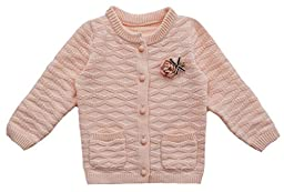 WEIXUAN Little Girls\' Diamond Cable Knit Cardigan Sweater,2T,Light Pink