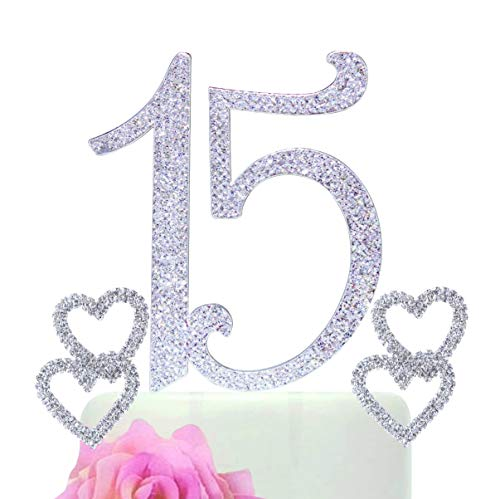 15 Quinceanera Silver Bling Cake Topper made in Rhinestones Plus 2 Double Crystal Hearts