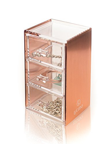 Rose Gold Acrylic Makeup, Jewelry, Stationary Holder, Organizer, 3 drawer, Compact by Lucido Cosmetics - ELEGANT AND STYLISH: The rose gold siding on this high quality, clear acrylic, compact 3-draw set, looks fantastic on any desk, counter, dresser or vanity. It goes beautifully with any décor. The rose gold siding reflects natural, halogen or fluorescent light beautifully! PERFECT GIFT: This rose gold acrylic compact 3-draw organizer makes a great gift for Mother's Day, Valentine's Day, a birthday, graduation, prom, anniversary or Christmas. Your friend, family, colleague or partner will love it. See other items in the Lucido range to compliment this organizer and make a great looking set. HIGH QUALITY: This high quality compact 3-draw set is crafted to a professional standard. The thick walls and base ensure that it sits firmly on a surface and wont topple over when filled with all your favorite things. Built-to-last, you will be loving this product for years to come. - organizers, bathroom-accessories, bathroom - 41e52Nb6Z0L -