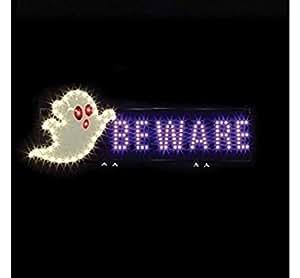Santa's Best 7402030uac Led Light Sign Ghost Beware, White/purple (PACK OF 4)