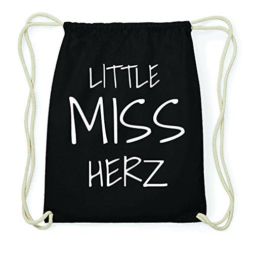JOllify HERZ Hipster Turnbeutel Tasche Rucksack aus Baumwolle - Farbe: schwarz Design: Little Miss