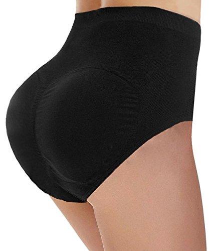 Ceesy Womens Padded Butt Enhancer Underwear Tummy Control Slimmer Panties Black, L