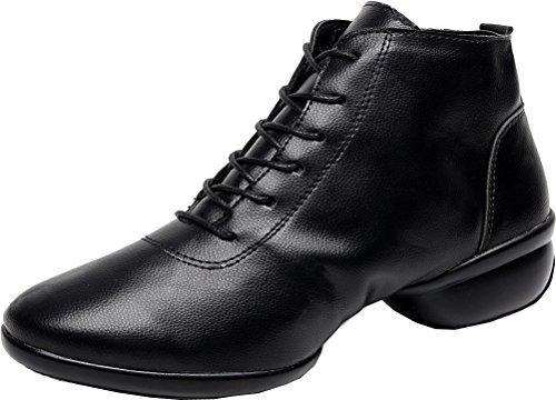 Abby 1001 Donna Mid Top Scarpe Da Ballo Di Pratica Jazz Punta Rotonda Lace Up Scarpe Sneakers Basse Suola Piatta Nero