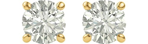 Charles & Colvard Forever One Moissanite Solitaire Earrings, 14k Yellow Gold (7MM) by The Men's Jewelry Store (for HER)