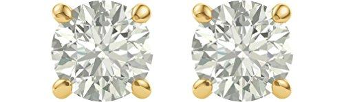 Charles & Colvard Forever One Moissanite Solitaire Earrings, 14k Yellow Gold (7MM) (55th Wedding Anniversary Symbol)