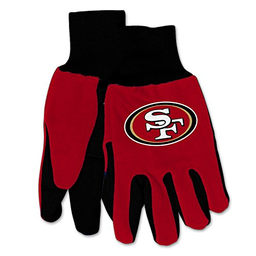 WinCraft NFL San Francisco 49ers Mechanical/Gardening/Work/Utility Glove with 3D Logo ... (Red on Black)