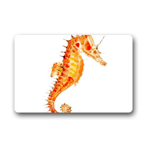 Watercolor Seahorse Tattoos Art Machine Washable Custom Doormats Rug Non Slip Mats Indoor/Outdoor/Bathroom/Decor Area Rug(23.6x15.7 inch) -