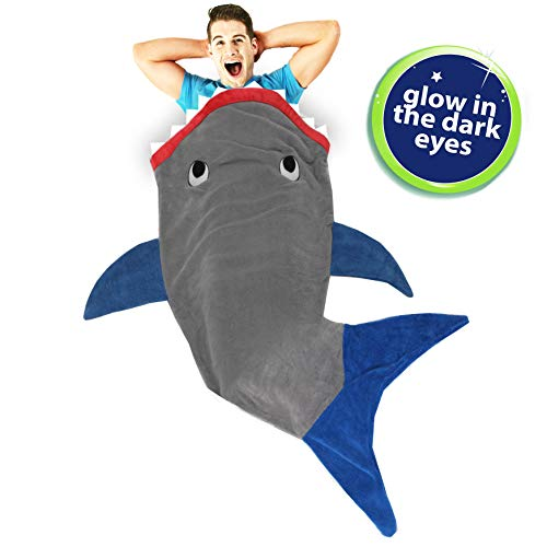 Blankie Tails Shark Blanket for Adults Super Soft, Double-Sided Shark Tail Blanket - Climb Inside to Keep Legs and Feet Warm and Cozy - Perfect Cool Guy Gift for All Seasons (Glow in The Dark)