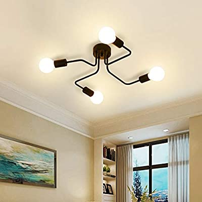 Surpars House 4-Light Flush Mount Industrial Ceiling Light,Black