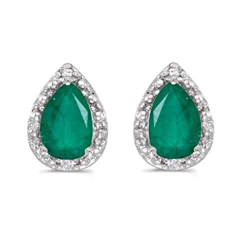 14K White Gold Pear Emerald and Diamond Earrings ()