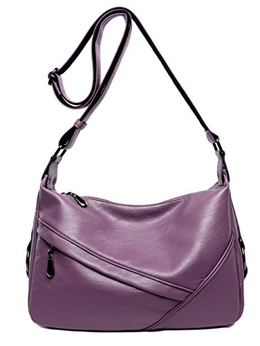 Women's Retro Sling Shoulder Bag from Covelin, Leather Crossbody Tote Handbag Purple (Bag Small Tote Flap)