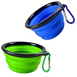 Collapsible Dog Bowl, 2 Pack Small Portable Dog Travel Bowl for Hiking Camping, Foldable Expandable Cup Dish Set for Pet Cat Service Dogs, Food Grade Silicone Bowl 2 Clips (Blue+Green)