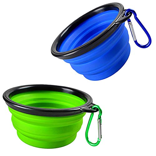 Collapsible Dog Bowl, 2 Pack Small Portable Dog Travel Bowl for Hiking Camping, Foldable Expandable Cup Dish Set for Pet Cat Service Dogs, Dog Water Bowl 2 Clips (Blue+Green)