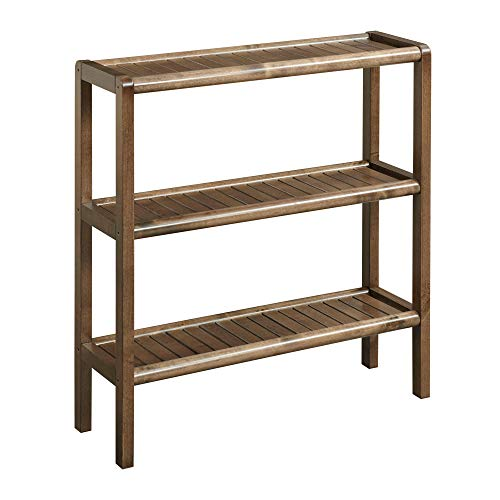 NewRidge Home Goods 2207-CHS NewRidge Home Solid Wood Abingdon Console, Stand, Bookcase, Shoe Rack, 3 Tier, One Size, Antique Chestnut