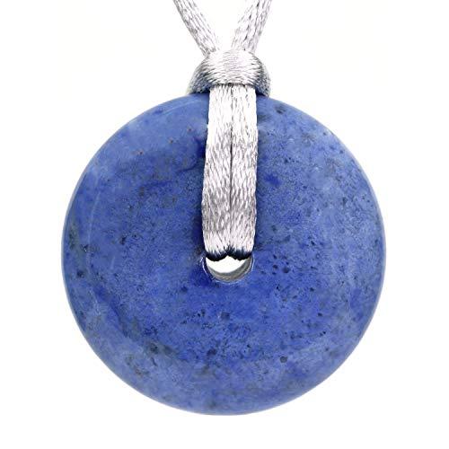 AMANDASTONES Natural A Grade Dumortierite Gemstones Peace Donut 30M Beads Adjustable Braided Macrame Tassels Pendant Unisex