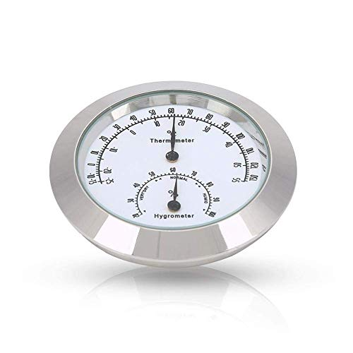 Guitar Analog Hygrometer,Round Alloy Digital Thermometer Hygrometer Humidity Temperature Meter for Violin Guitar Case for Indoor and Outdoor(Silver)