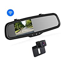 BOSCAM K2 Wireless Backup Camera Kit Rearview Mirror Monitor and Universal Waterproof Night Vision Rear View License Plate Back up Camera for Parking Assist
