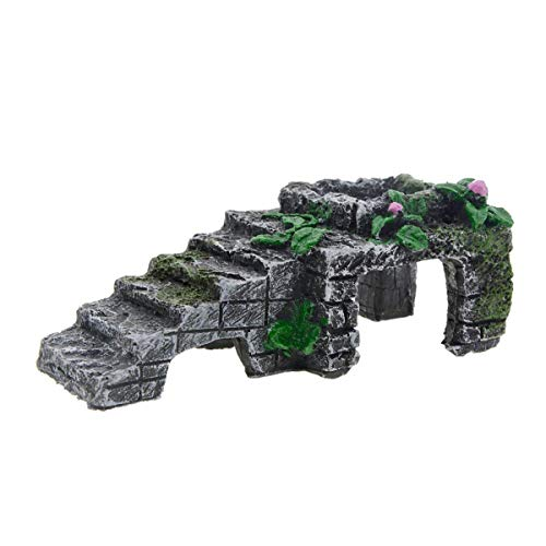 Dark Gray Green Turtle Platform,Artificial Resin Platform Stairs for Tortoise Climb Stone Habitat Ornament