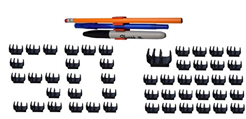 50 Pk  Black Self Adhesive Pencil Pen And Marker Holder Adhesive Clip   Best Mount Organizer To Stick On The Printer  Fridge  Filing Cabinet  Etc    Great For Craft Room  Under Cabinet  Storage