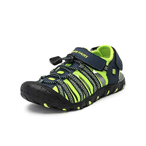 DREAM PAIRS Boys Girls Little Kid 171111-K Navy NEON Green Outdoor Summer Sandals Size 12 M US Little Kid -