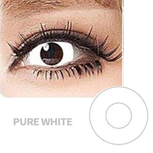 SAFE Women Multi-Color Cute Charm and Attractive Fashion Colored Contact Lenses Cosmetic Makeup Eye Shadow White Zombie Color Contacts Lens Halloween -