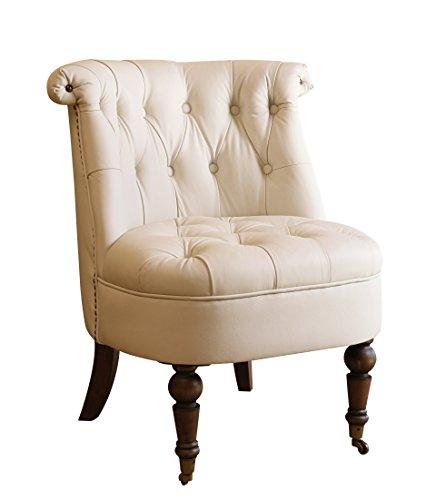 Cheap Abbyson® Monica Pedersen Drea Leather Barrel Chair, Ivory