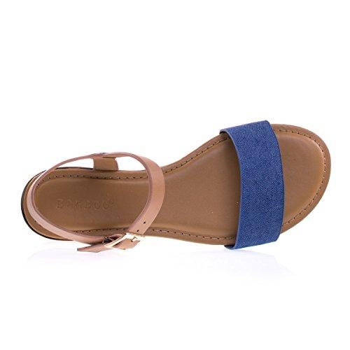 Metall Belagt Lav Kile Flat Sandal W Duo Tone Stropper Bluedenim