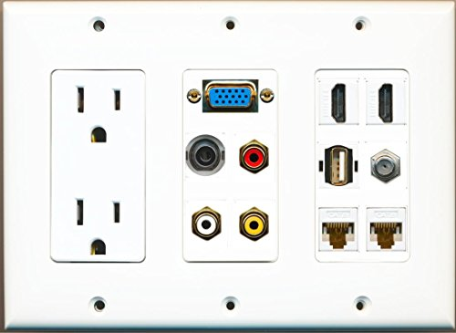 Svga Wall Plate - RiteAV 2 Hdmi 2 Cat6 3.5mm RCA Composite Coax Usb-A SVGA Power Outlet Wall Plate