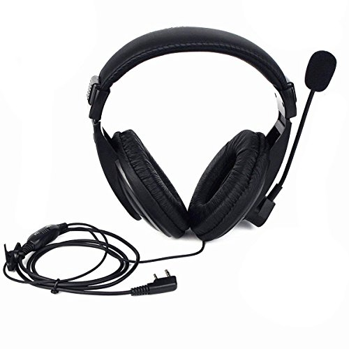 abcGoodefg Professional Noise Cancelling Radio Overhead Headsets Headphones with Boom Mic for 2 Pin Kenwood Baofeng Puxing Wouxun HYT Puxing Radio UV5R UV82 UV5RA HYT 888S 777S Retevis H777 F8HP