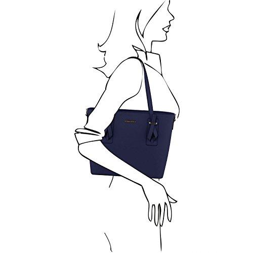 Tuscany Leather Afrodite Shopper Tasche aus Leder - TL141681 (Schwarz) Dunkelblau