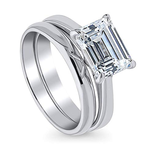 BERRICLE Rhodium Plated Sterling Silver Emerald Cut Cubic Zirconia CZ East-West Solitaire Engagement Wedding Ring Set 2.62 CTW Size 6