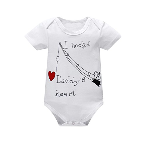 Yatong Baby Boys Girls Short Sleeve Bodysuit Onesies Baby Romper (6-12 Months, White) -