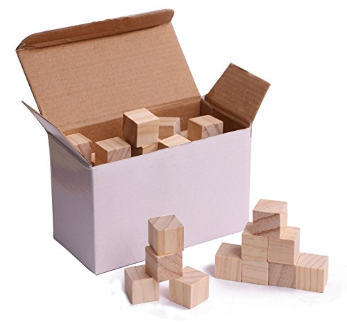 Shapenty Natural Plain Blank Unfinished DIY Craft Square Wooden Blocks Cubes for Alphabet Photo Blocks and Puzzle Making, 3/4 Inch, 72PCS/Box