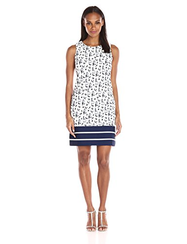 Julian Taylor Women's Sleeveless Bird Cage Printed Shift Dress, Ivory/Navy, 6