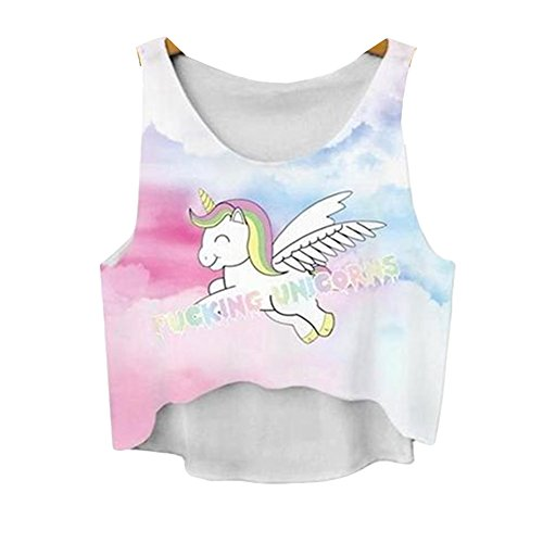 Women 3d Print Cute Cartoon Unicorns Sexy Crop Top Outfits Sleeveless Onesies - Sexy Unicorn Outfit