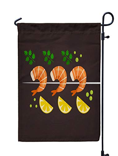 Jacrane Welcome Small Garden Flag 12X18 Inches Tasty Fresh Fried Dish Lemon Slice Sea Food Nutrition Concept Flat Cartoon Isolated Shrimps Double-Sided Seasonal House Yard Flags Decorative