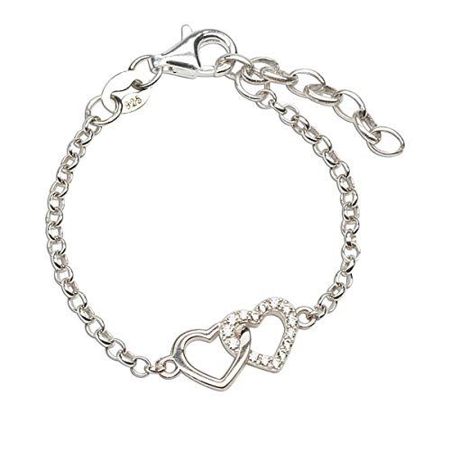 Dainty Sterling Silver Double Heart Bracelet (6-7
