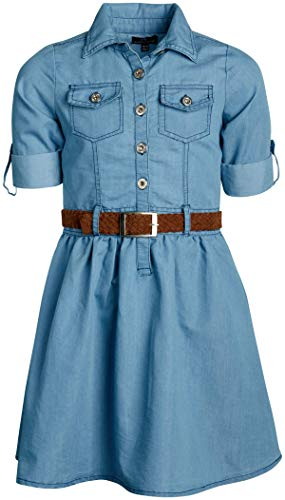 dollhouse Girls Belted Denim Chambray Dress with Roll Cuffs, Light, Size 14/16'