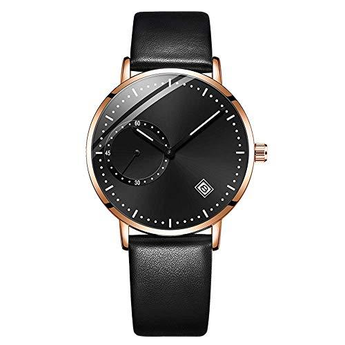 BEWITCHYU Practical Wristwatches Watch Men 's Quartz Watch Ultra-Thin Lightweight 30M Waterproof Noctilucent Date Display Leather Mesh Belt Decorative Watch BraceletB-Free