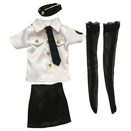 Baoblaze 全5点セット 12インチ女性アクションフィギュアのため 1:6スケール服装 トップ スカート ストッキング 警察官制服