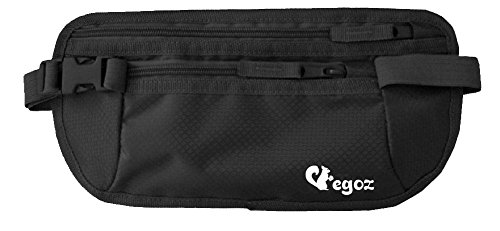 Cashew By Egoz Travel Gear Money Belt Undercover Waist Bag Hidden Pouch Bag Secures Cash Cards Passport Tickets Mobile - 100% Polyester, 2 Zip Pockets, Adjustable Strap, Side Clip, Washable - Light Slim Comfortable - Delux (Black)