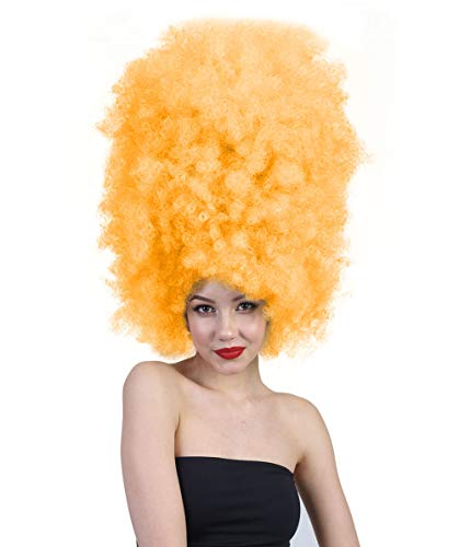 Neon Clown Orange Afro Wig - Halloween Party Online Super Size Jumbo