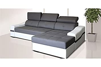 84eb9e6308131 Canapé d angle Convertible Design NYSSA - Angle Droit - Gris et Blanc